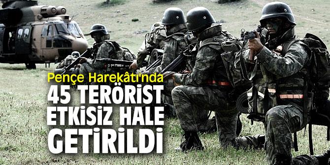Pençe Harekâtı'nda 45 terörist etkisiz hale getirildi