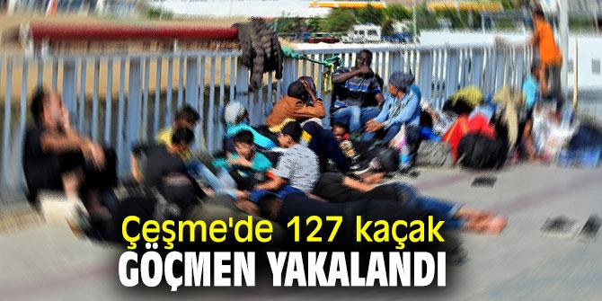 Çeşme'de 127 kaçak göçmen yakalandı