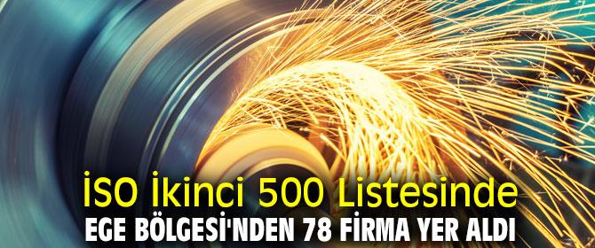 Ege Bölgesi'nden 78 firma İSO İkinci 500 Listesinde yer aldı