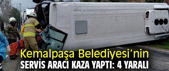 Kemalpaşa Belediyesi'nin servis aracı devrildi!