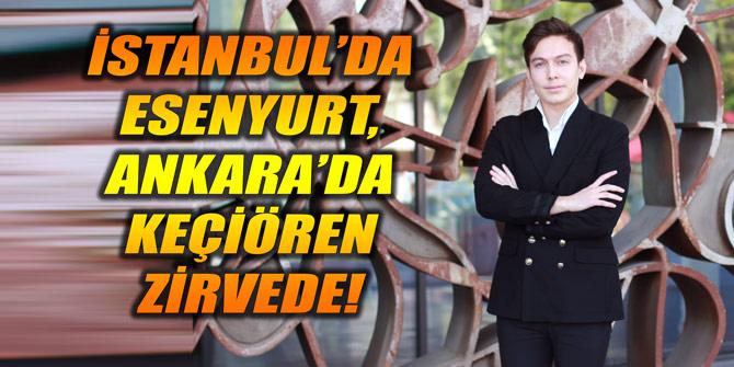 İstanbul'da Esenyurt, Ankara'da Keçiören Zirvede!
