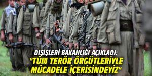 """Dışişleri Bakanlığı açıkladı: """"Tüm terör örgütleriyle mücadele içerisindeyiz"""""""