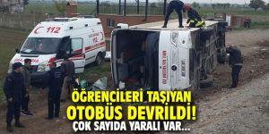Öğrencileri taşıyan otobüs devrildi! Çok sayıda yaralı var...