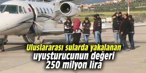 Uluslararası sularda yakalanan uyuşturucunun değeri 250 milyon lira