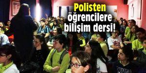 Polisten öğrencilere bilişim dersi!
