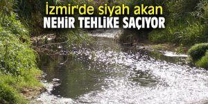 İzmir'de siyah akan nehir tehlike saçıyor