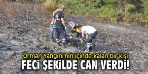 Orman Yangını'nın içinde kalan bir kişi feci şekilde can verdi!