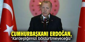 """Cumhurbaşkanı Erdoğan'dan önemli açıklamalar: """"Kardeşliğimizi böldürtmeyeceğiz"""""""