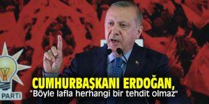 """Cumhurbaşkanı Erdoğan, """"Böyle lafla herhangi bir tehdit olmaz"""""""