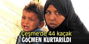 Sahil Güvenlik Çeşme'de 44 kaçak göçmeni kurtardı