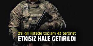 2'si gri listede toplam 43 terörist etkisiz hale getirildi!