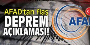 AFAD'tan flaş deprem açıklaması!