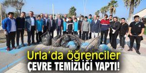 Urla'da öğrenciler çevre temizliği yaptı!