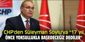 CHP'den Süleyman Soylu'ya ''17 yıl önce yoksullukla başedeceğiz dediler''