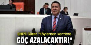 """CHP'li Gürer, """"Köylerden kentlere göç azalacaktır!"""""""