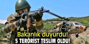Bakanlık duyurdu! 5 terörist teslim oldu!