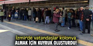 İzmir'de vatandaşlar kolonya almak için kuyruk oluşturdu!