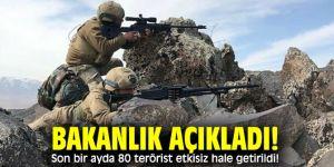 Bakanlık açıkladı! Son bir ayda 80 terörist etkisiz hale getirildi!