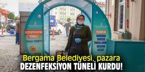Bergama Belediyesi, pazara dezenfeksiyon tüneli kurdu!