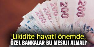 'Likidite hayati önemde, özel bankalar bu mesajı almalı'