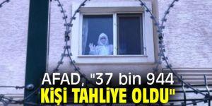 """AFAD, """"37 bin 944 kişi tahliye oldu"""""""