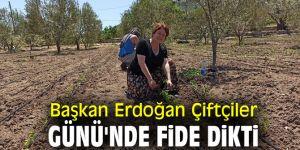 Başkan Erdoğan Çiftçiler Günü'nde fide dikti