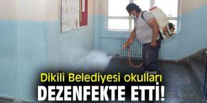 Dikili Belediyesi okulları dezenfekte etti!