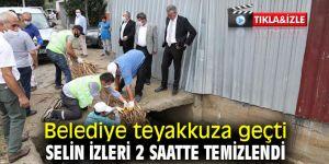 Gaziemir'de selin izleri 2 saatte temizlendi