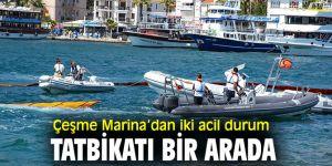 Çeşme Marina'danacil durum tatbikatı yapıldı