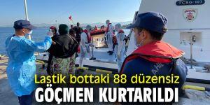 Lastik bottaki 88 düzensiz göçmen kurtarıldı