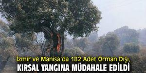 İzmir ve Manisa'da 182Adet Yangına Müdahale Edildi