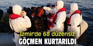 İzmir'de 68 kaçak göçmen kurtarıldı