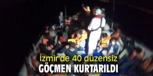 İzmir'de 40 düzensiz göçmen kurtarıldı