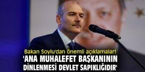 Bakan Soylu'dan önemli açıklamalar! 'Ana muhalefet başkanının dinlenmesi devlet sapıklığıdır'
