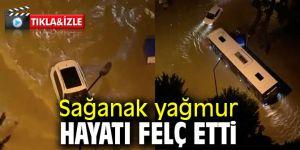 Antalya'da araç sürücülerinin kısıtlama öncesi suyla dolu yol imtihanı