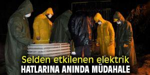 İzmir'de selden etkilenen elektrik hatlarına anında müdahale