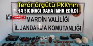 Terör örgütü PKK'nın 14 sığınağı daha imha edildi