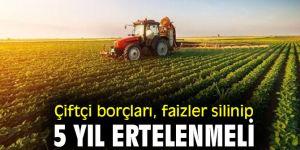 Çiftçi borçları, faizler silinip 5 yıl ertelenmeli