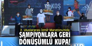 2. Uluslararası İzmir Maratonu'nda şampiyonlara geri dönüşümlü kupa!
