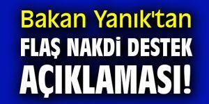 Bakan Yanık'tan flaş nakdi destek açıklaması!