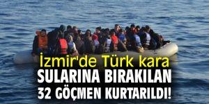 İzmir'de Türk sularına geri itilen 32 göçmen kurtarıldı