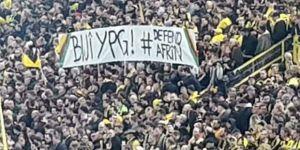 Tribünde skandal YPG pankartı...