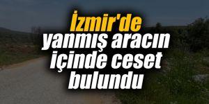 izmir'de yanmış aracın içinde ceset bulundu