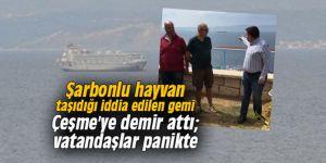 Şarbonlu hayvan taşıdığı iddia edilen gemi Çeşme'ye demir attı; vatandaşlar panikte