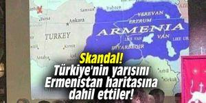 Skandal! Türkiye'nin yarısını Ermenistan haritasına dahil ettiler!