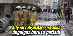 Altyapı çalışmaları sırasında doğalgaz borusu patladı