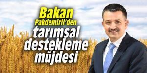 Bakan Pakdemirli'den tarımsal destekleme müjdesi