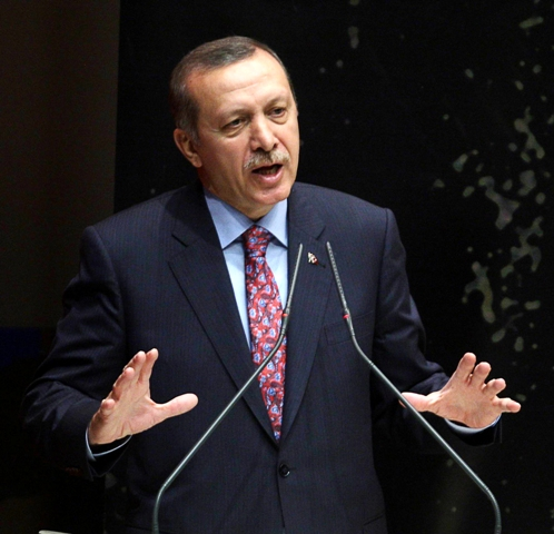 Turkey's Prime Minister Recep Tayyip Erdogan gestures as he speaks during a meeting at his ruling Justice and Development Party (AKP) party headquarters in Ankara, on May 24, 2013 AFP PHOTO/ADEM ALTAN (Photo credit should read ADEM ALTAN/AFP/Getty Images)